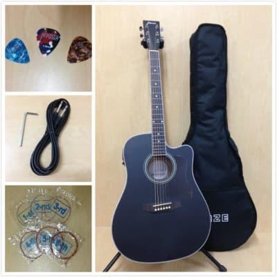 Haze Dreadnought Acoustic Guitar,Satin Black w/EQ,Cutaway+Free Gig Bag F-650CEQ/MBK for sale
