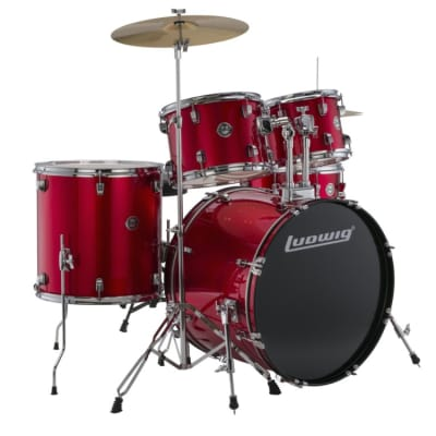 Ludwig Accent Fuse 5pc Drum Set w/ Cymbals Red Foil