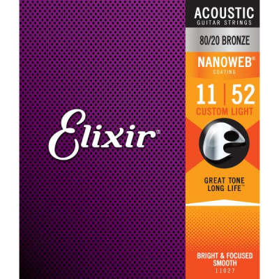 Elixir 11052 Nanoweb 80/20 Bronze Acoustic Guitar Strings - Light (12-53)