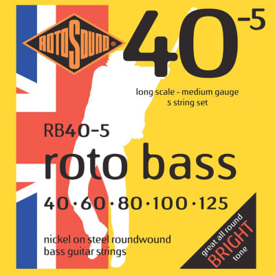 Rotosound RB40-5 Roto Bass Nickel on Steel 5 String Bass Strings 40-125