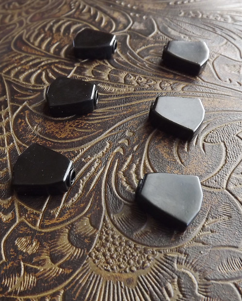 Gibson/Kluson-Style Tulip Black Replacement Tuner Buttons - Black