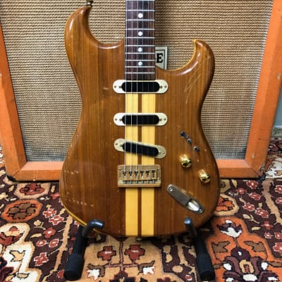 Vintage 1970s El Maya Neck Thru 3-Pickup Natural Stratocaster MIJ Japan Guitar for sale