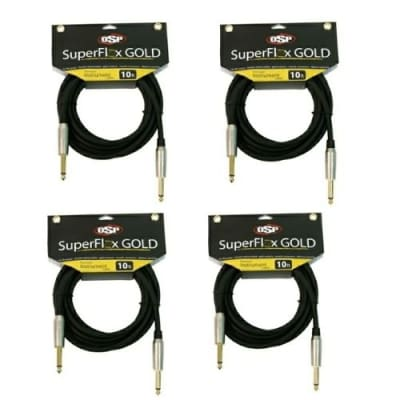 "(4) 10' Guitar Instrument Cable Cord 1/4"" - Gold Contacts By OSP SuperFlex GOLD"