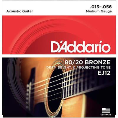 D'Addario 80/20 Bronze Acoustic Guitar Strings, Medium, 13-56 EJ12