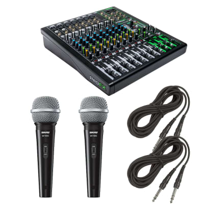 Mackie ProFX12v3 12-Channel Sound Reinforcement Mixer with Built-In FX + Dynamic Cardioid Handheld Microphone and Cables.