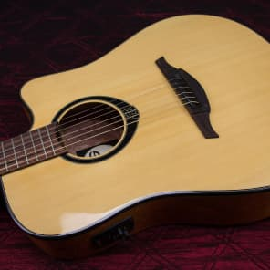 Lag Guitars T66DCE Dreadnought Cutaway Acoustic-Electric Guitar  Natural for sale