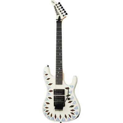 Kramer Guitars Icon Collection NightSwan Vintage White Electric Guitar with Aztec Marble Graphic for sale