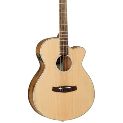 Tanglewood DBT-SFCE-OV Discovery Electro Acoustic Guitar - Pacific Walnut 2020 Natural Open Pore Sat for sale