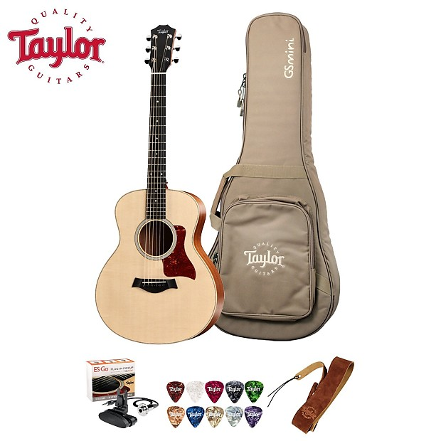 Taylor Guitars GS Mini Reduced Scale Grand Symphony Acoustic Guitar With Gig Bag Strap Picks ES Go Pickup