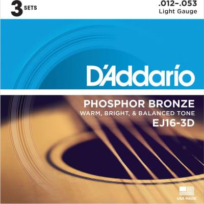 D'Addario EJ16 Phosphor Bronze Acoustic Guitars Strings 3 Pack - Light 12-53 for sale