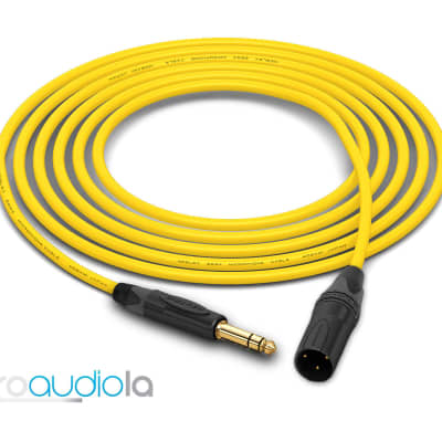 "Mogami 2534 Quad Cable | Neutrik Gold 1/4"" TRS to XLR-Male | Yellow 15 Feet | 15 Ft. | 15'"