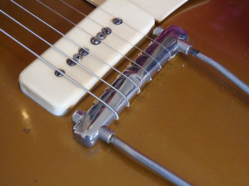 Trapeze Wrap-Over Compensated Tailpiece, 1952 - 1953 Gibson Replacement Bridge (Polished Nickel)