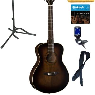 Luna ART V FOLK Art Vintage Folk Solid Top Distressed Acoustic Guitar, Stand Bundle