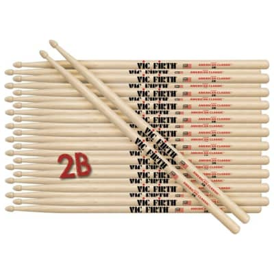 12 Pairs of Vic Firth 2B Wood Tip American Classic Hickory Drumsticks