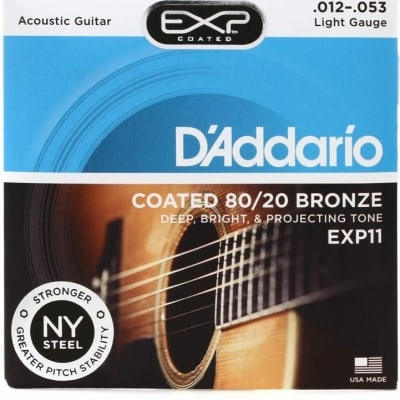 D'Addario EXP11 Coated 80/20 Bronze Acoustic Strings: 12-53 (Light)