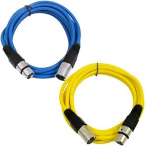 Seismic Audio SAXLX-6-BLUEYELLOW XLR Male to XLR Female Patch Cables - 6' (2-Pack)