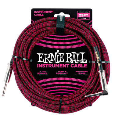 Ernie Ball 25ft Straight/Angle Braided Black/Red Cable for sale