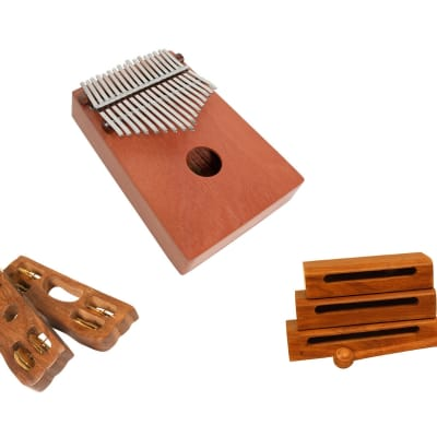 Kalimba Thumb Piano Package Includes: Thumb Piano 17 Key - Red Cedar - Hand Percussion + Tone Blocks W/ Mallets, Wooden Percussion, Set Of 3 + Hand Percussion Tambourine - Pair