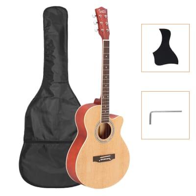 Glarry GT501 40inch Matte Concert Cutaway Spruce Front Folk Acoustic Guitar Burlywood for sale