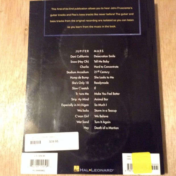 Red Hot Chili Peppers Guitar Tablature Book With 2 Cds Rare Reverb