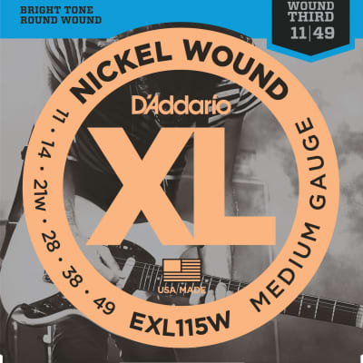 D'Addario EXL115W Nickel Wound Medium/Blues-Jazz-Rock, Wound 3rd