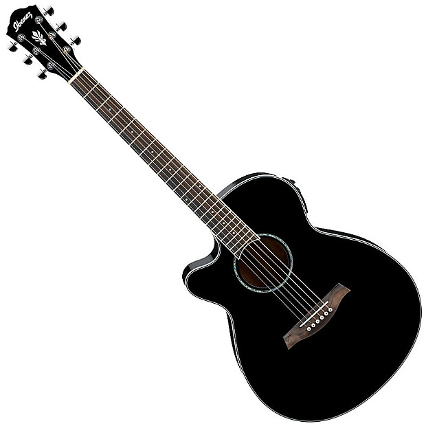 Ibanez Aeg10lii Left Handed Acoustic Electric Guitar Black Reverb