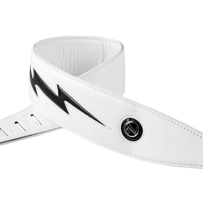 Black  & White High quality Leather Guitar Strap unique Lightning- Free Shipping - White