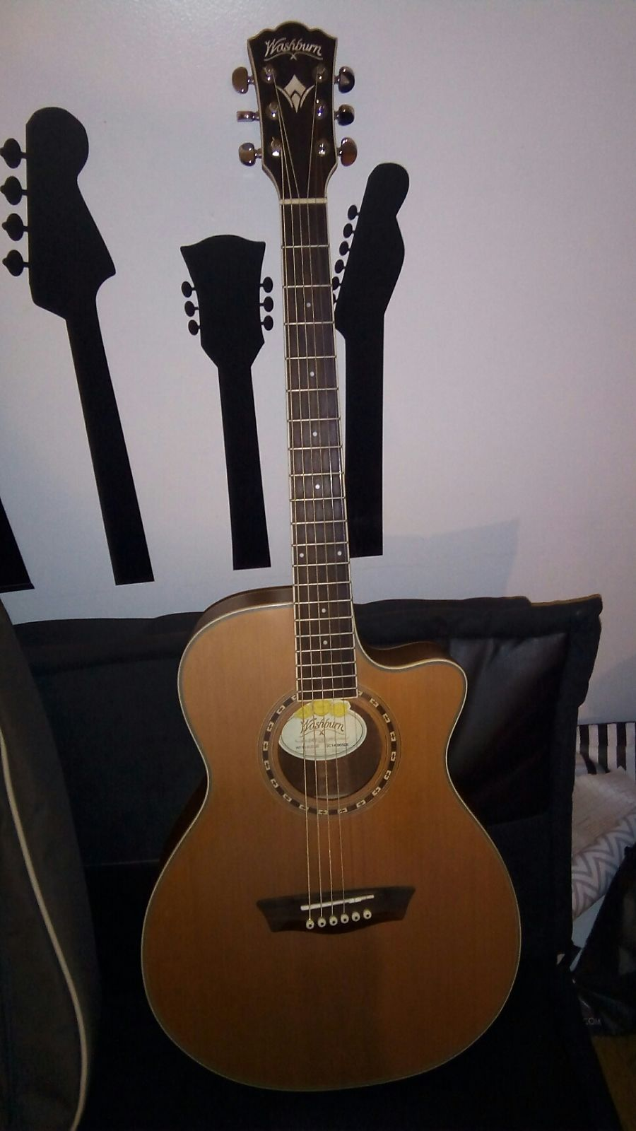 Washburn wf11s cedar mahogany folk natural reverb for Motor city guitar waterford