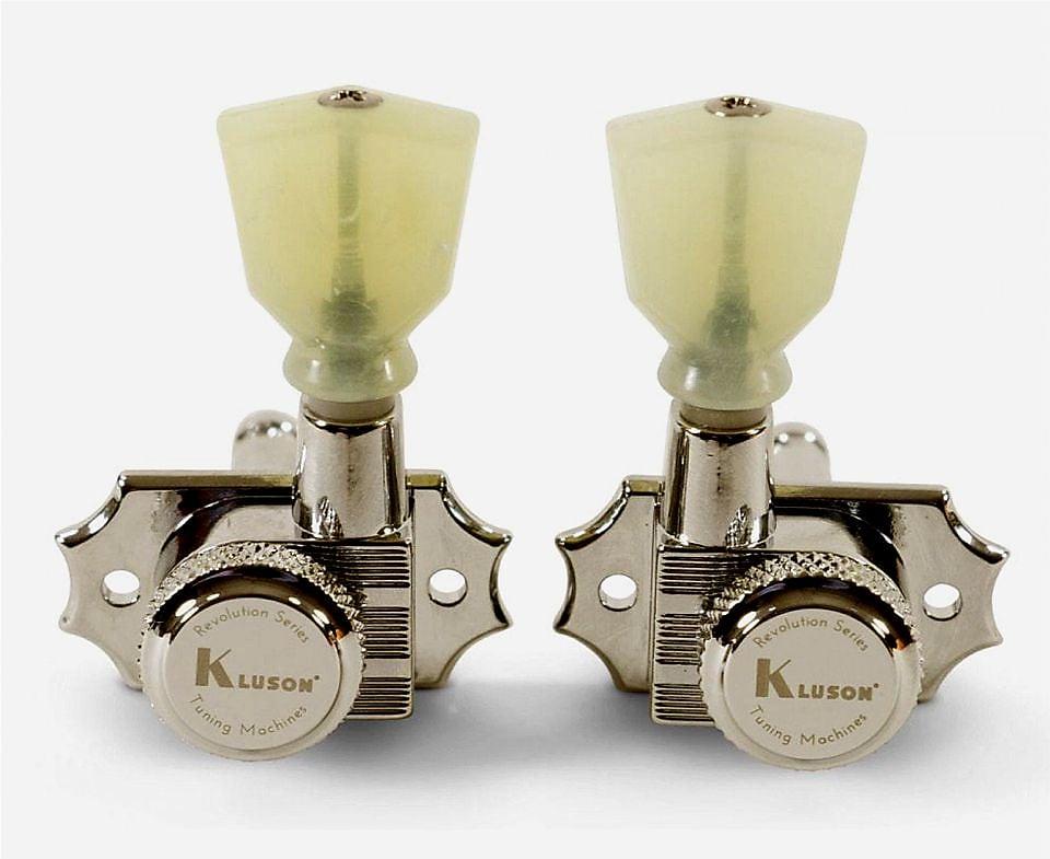 Kluson Revolution Locking Tuners 3x3 Pearloid keystone button - Nickel KRGL-3-NP