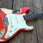 vintage Pine, relic strat guitar body nitrocellulose finish fits fender necks. image