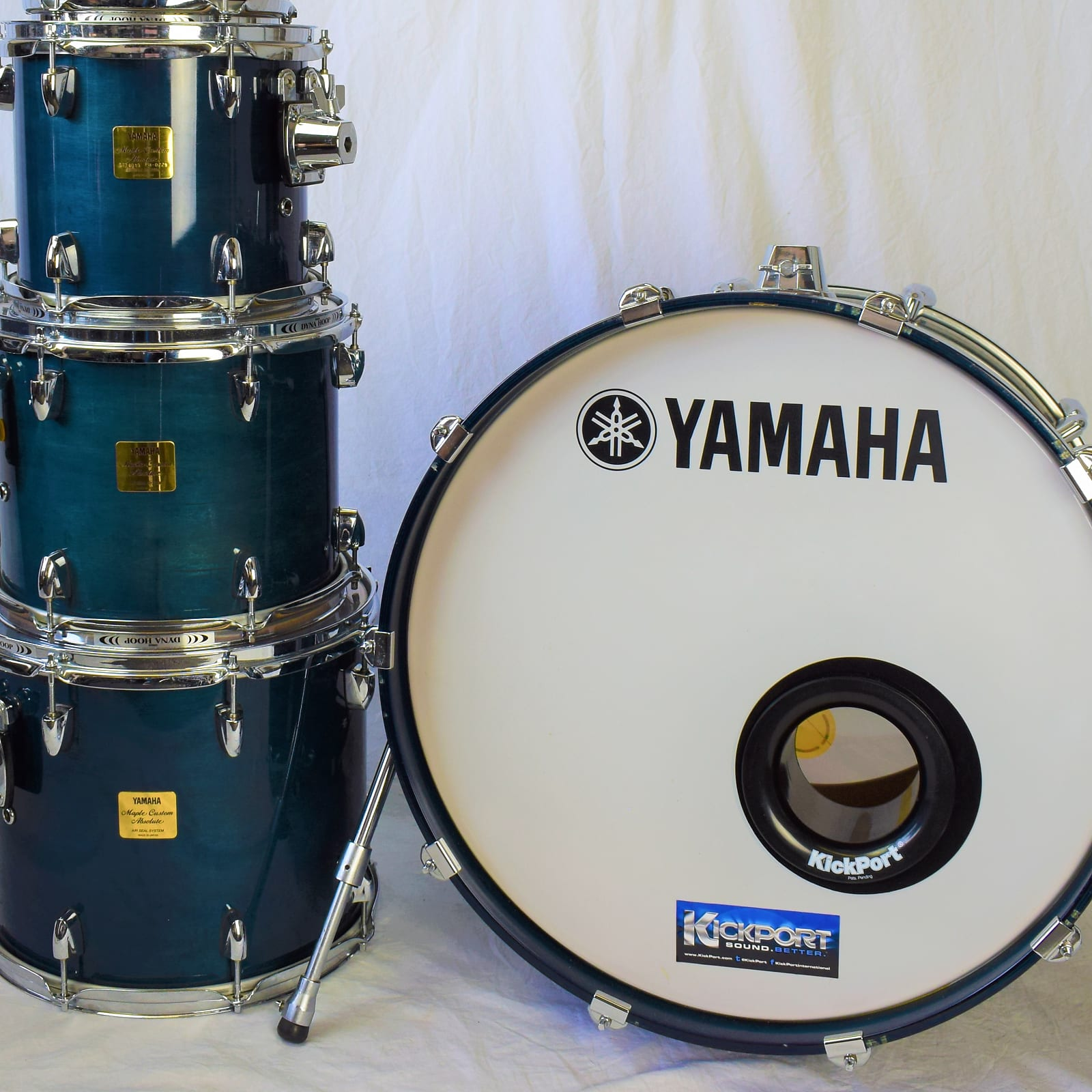 Yamaha Maple Custom Absolute 4 Piece Shell Pack 10/12/14/22 Sea Blue Lacquer