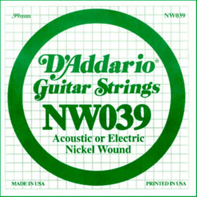 D'Addario Nickel Wound Electric Single String NW039