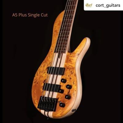 Cort A5PLUSSCAOP Artisan Series Single Cutaway Swamp Ash Body 5-String Electric Bass Guitar w/Case