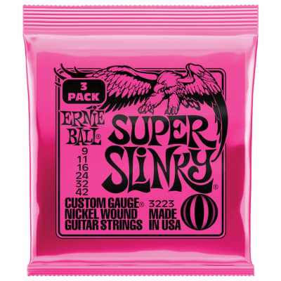 Ernie Ball Super Slinky 9-42 Electric Guitar Strings 3 Pack