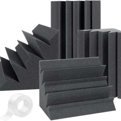 """Upgraded High Density 30 kg/m^3 Bass Traps Acoustic Foam + Double Side Adhesive Tape 12"""" X 7"""" X 7"""""""