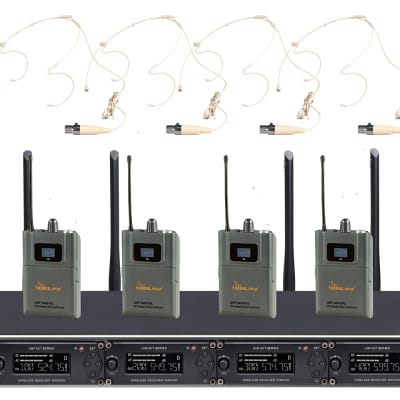 IDOLpro UHF-668H Professional 4 Channel Wireless Headset Microphones With New Pilot Technology