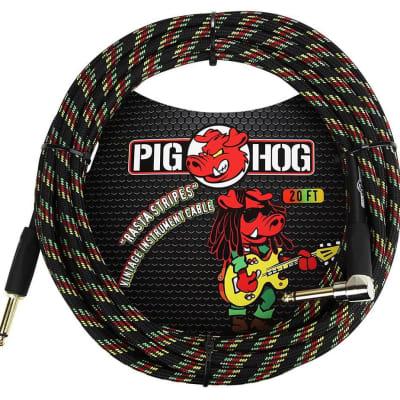 Pig Hog PCH20RAR 1/4' Straight to 1/4' Right-Angle Rasta Stripes Instrument Cable, 20 feet