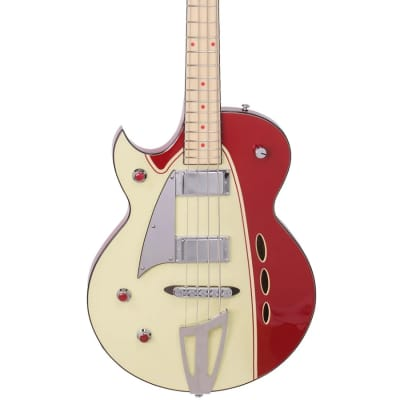 Backlund Rockerbox Bass LH - Red / Creme for sale