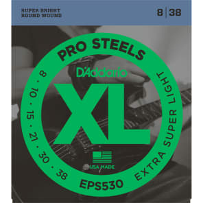 D'Addario EPS530 ProSteels Electric Guitar Strings Extra-Super Light 8-38