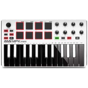 Akai MPK mini mkII USB Keyboard Controller, 25-Key, White