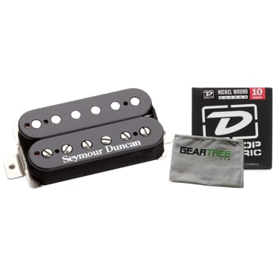 Seymour Duncan SH-6b Duncan Distortion Electric Guitar Pickup (Black) w/ Geartree Cloth and Set of Strings
