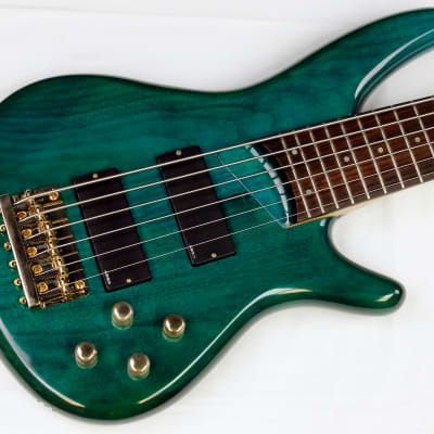 1995 Ibanez SR506 Soundgear 6-String Electric Bass, Translucent Teal, w/HSC #ISS1955 T