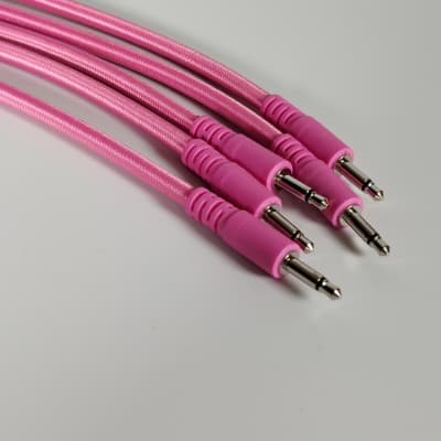 Five Pack - 15cm Braided Patch Cables - Pink