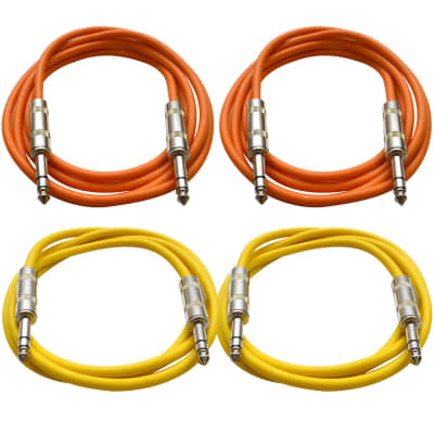 """4 Pack of 1/4"""" TRS Patch Cables 6 Feet Extension Cords Jumper - Orange & Yellow"""