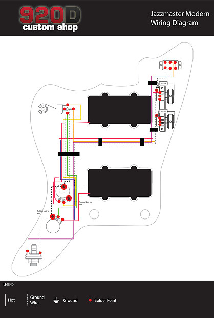 Fender Modern Jazzmaster Guitar PreWired Wiring Harness 2V2T – Jazzmaster Wiring Diagram 50 S