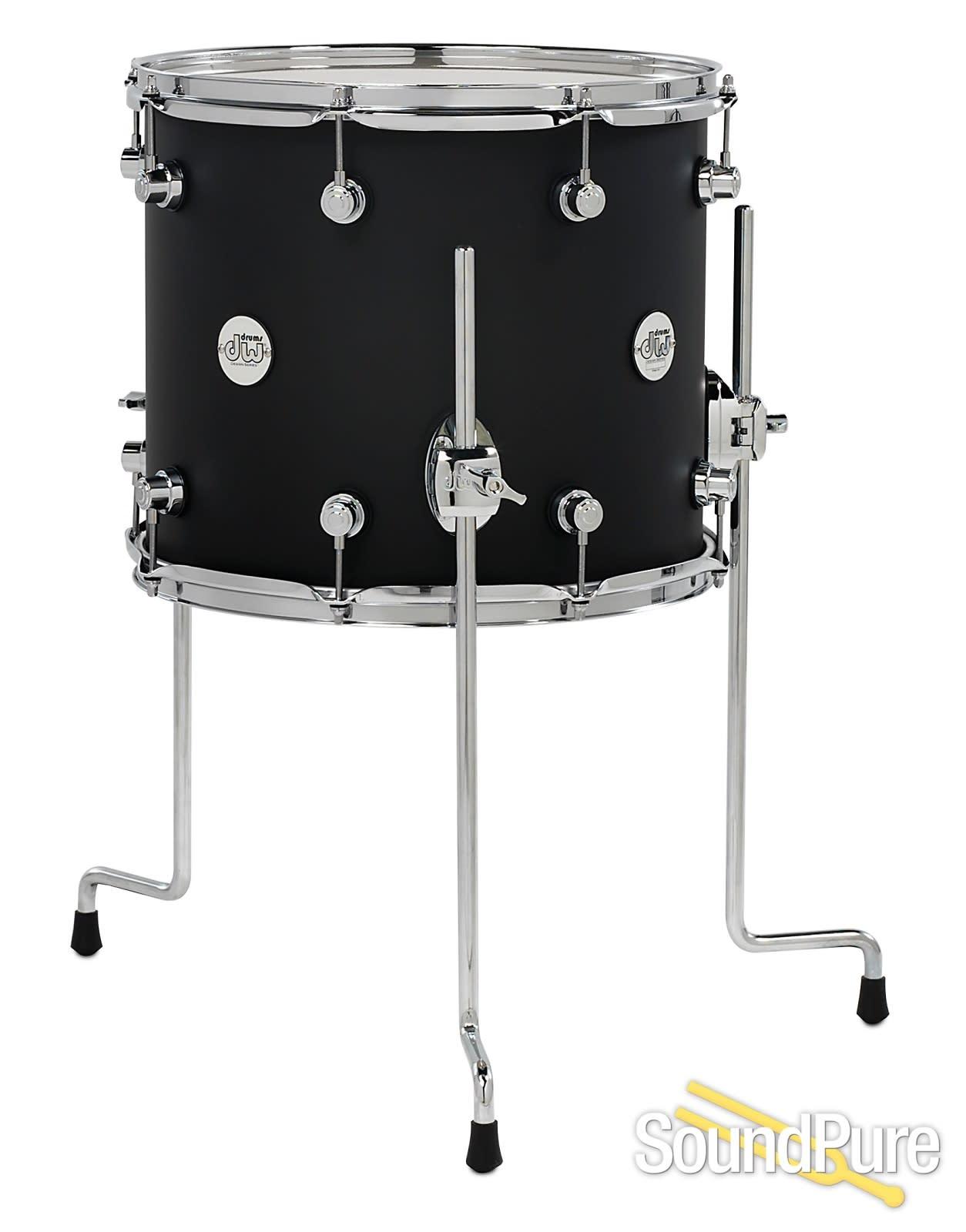Dw design series 12x14 floor tom black satin sound pure for 14 floor tom for sale
