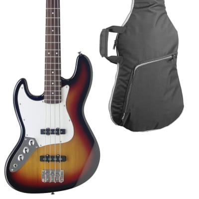 Stagg Left Hand 4-String Fusion Bass Guitar Sunburst w/ Gig Bag