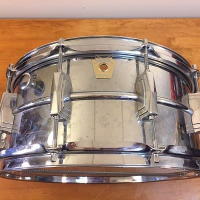 "Ludwig No. 402 Supraphonic 6.5x14"" Aluminum Snare Drum with Large Chicago Keystone Badge 1984"