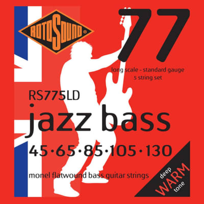 RotoSound Bass Guitar Strings 5-String Jazz Bass RS77 Monel Flatwound 45-65-85-105-130