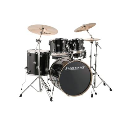 Ludwig Element Evolution 10/12/16/22/5x14 5pc. Drum Kit Black Sparkle w/Hardware & Zildjian I Series Cymbals